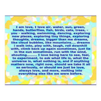 O cartão criativo 4b eu sou amor, sonhos, estando