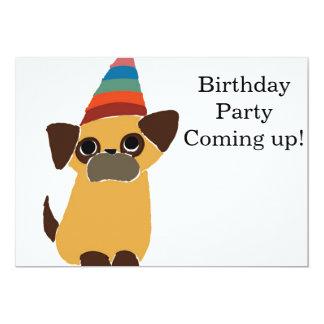 O cartão de aniversário do Pug convida Convite 12.7 X 17.78cm