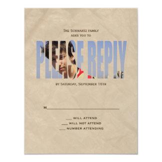 O cartão de resposta da foto de Mitzvah do bar em Convite 10.79 X 13.97cm