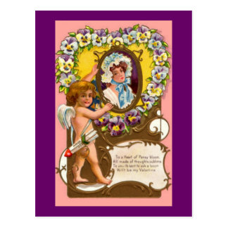 Cartão Postal O cartão dos namorados do vintage do Cupido