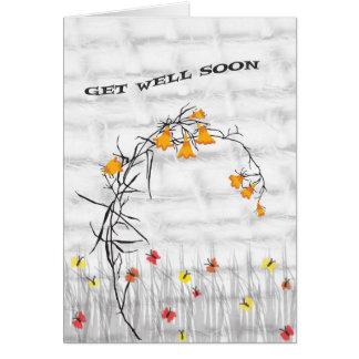 O cartão obtem o poço logo com flores & borboletas