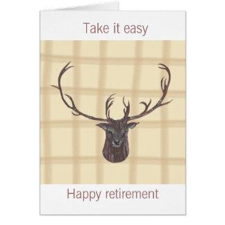 O cartão principal do veado da aposentadoria