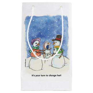 O casal da neve Parents o saco do presente Sacola Para Presentes Pequena