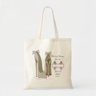 O casamento da madrinha de casamento calça o saco bolsa tote
