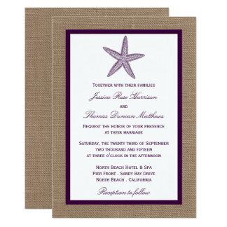 O casamento de praia | de serapilheira da estrela convite 12.7 x 17.78cm