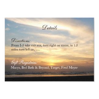 O casamento de praia do por do sol detalha o convite 12.7 x 17.78cm