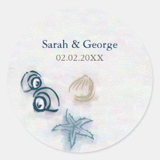 O casamento de praia dos Seashells favorece Adesivo