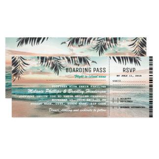 """O casamento de praia tropical da passagem de convite 10.16"""" x 23.49cm"""