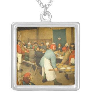 O casamento do camponês - 1568 colar banhado a prata
