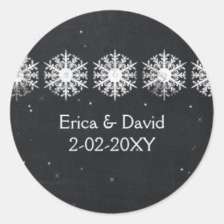 o casamento do quadro dos flocos de neve favorece adesivo