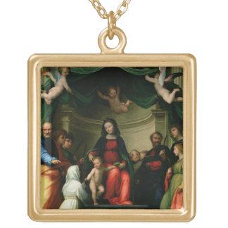 O casamento místico de St. Catherine de Siena com Colar Banhado A Ouro