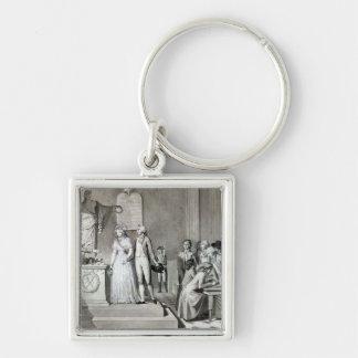 O casamento republicano chaveiro quadrado na cor prata