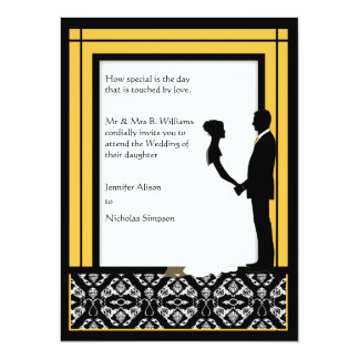 O casamento tema damasco amarelo preto, branco & convite 13.97 x 19.05cm