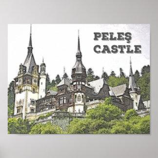 O castelo bonito de Peles em Romania Poster
