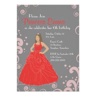 O castelo vermelho da festa de aniversário do convites personalizados