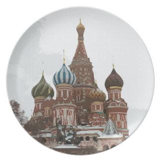 O cathedral_russo da manjericão do santo prato de festa