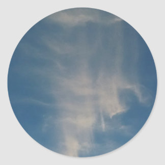 O céu azul de queda drapeja adesivos redondos