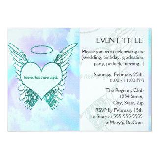 O céu tem um anjo novo convite 12.7 x 17.78cm