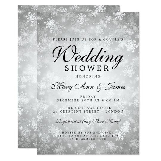 O chá de casamento do casal de prata do país das convite 12.7 x 17.78cm