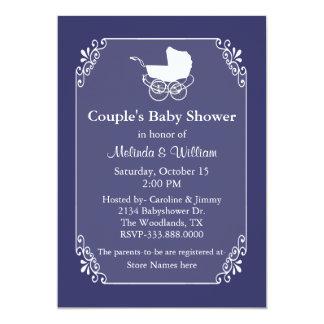 O chá de fraldas do casal azul e branco da convites personalizado