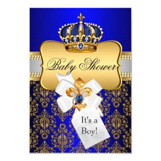 O chá de fraldas pequeno do príncipe Ouro Azul Convite 8.89 X 12.7cm