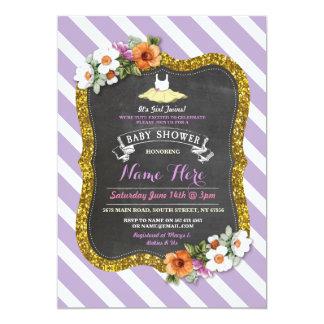 O chá de fraldas roxo bonito do balé do Lilac do Convite 12.7 X 17.78cm