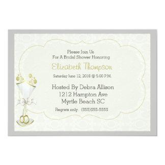 O chá de panela borbulhante de vidro do damasco do convite 12.7 x 17.78cm