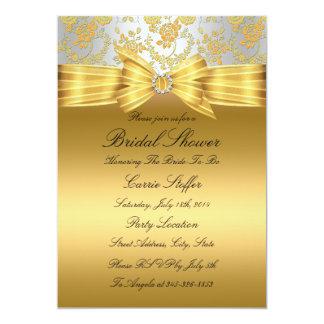 O chá de panela cor-de-rosa do ouro & da prata convite 12.7 x 17.78cm