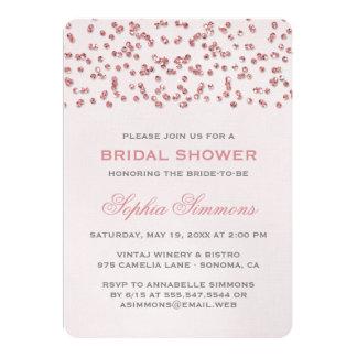 O chá de panela cor-de-rosa dos confetes do olhar convite