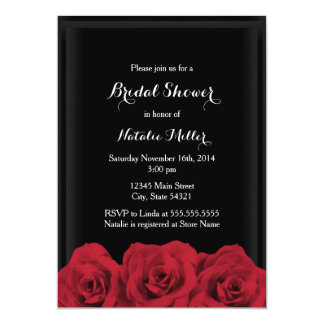 O chá de panela da rosa vermelha convida convite 12.7 x 17.78cm