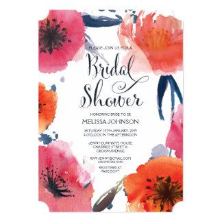 O chá de panela floral da aguarela do marinho convites personalizados