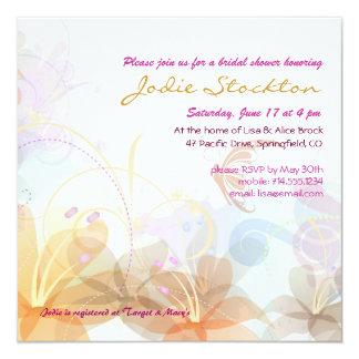 O chá de panela, gráfico floral colorido convida convite quadrado 13.35 x 13.35cm