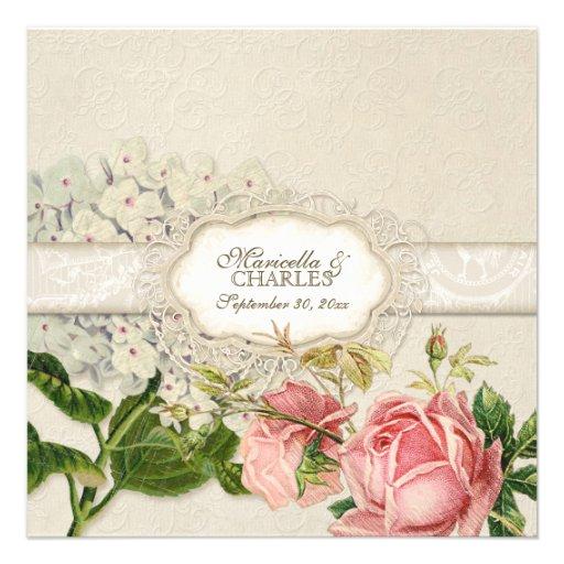 O chá moderno do laço do vintage manchou rosas do  convites personalizado