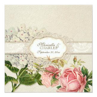 O chá moderno do laço do vintage manchou rosas do convite quadrado 13.35 x 13.35cm