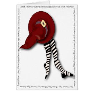 O chapéu e as calças justas da bruxa feliz do Dia Cartão