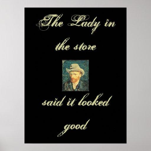o chapéu, senhora na loja, disse que olhou bom pôsteres