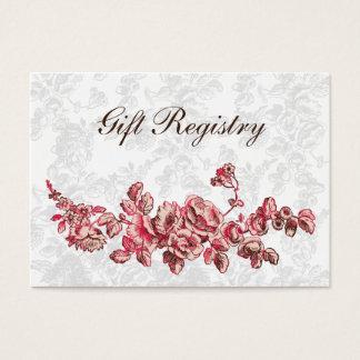 O chique cora casamento floral do vintage cartão de visitas