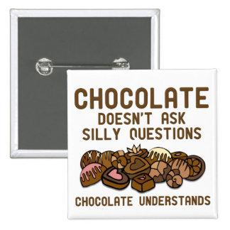 O chocolate compreende o crachá engraçado do botão bóton quadrado 5.08cm
