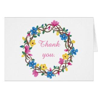O círculo colorido das flores agradece-lhe cartões