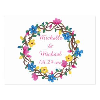 O círculo de flores coloridas salvar os cartão da cartão postal