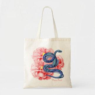O cobra azul dos rosas cor-de-rosa adiciona o saco bolsa para compras