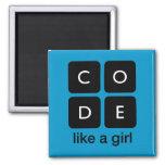 O código gosta de uma menina imã de geladeira