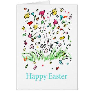 O coelho de felz pascoa floresce o humor festivo cartão comemorativo