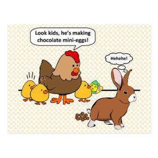 O coelho faz a tombadilho do chocolate desenhos an cartão postal