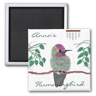 O colibri de Anna Ímã Quadrado