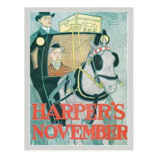 O compartimento novembro do harpista do nouveau da cartão postal