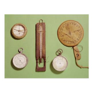O compasso de Scott, termômetro, sundial, Cartão Postal