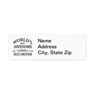O condutor de autocarro o mais impressionante do m etiqueta endereço de retorno