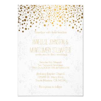 O confete à moda do ouro pontilha o tema do convite 12.7 x 17.78cm