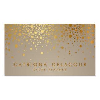 O confete da folha de ouro do falso pontilha o cartão de visita